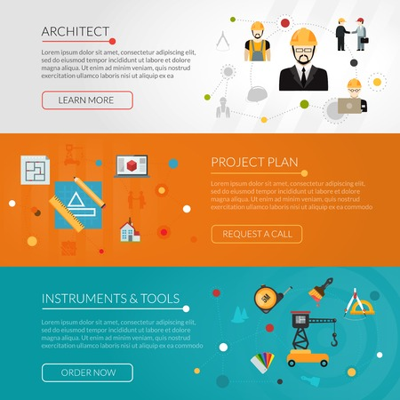 project plan: Architect horizontal banner set with project plan flat elements isolated vector illustration