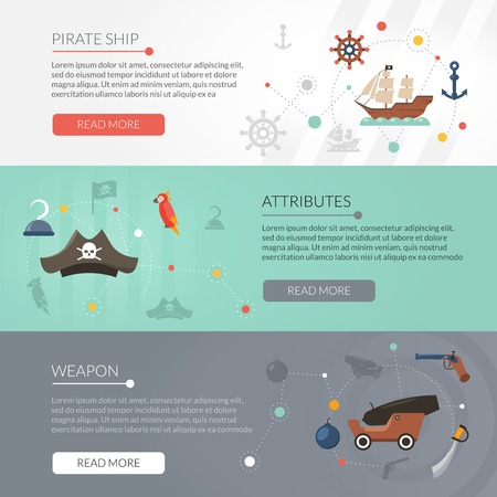 pirate banner: Pirate banner horizontal set with weapon and ship attributes flat elements isolated vector illustration
