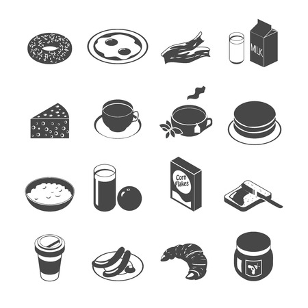 bread and butter: Breakfast food and drinks icon set with coffee tea eggs monochrome vector illustration