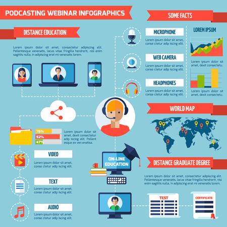podcasting: Podcasting and webinar infographics with distance education symbols and charts vector illustration Illustration