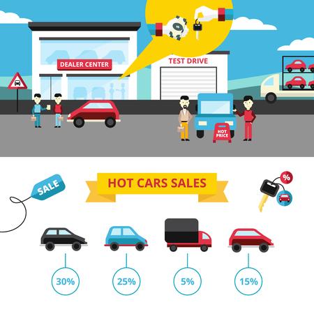Autohaus Flach Banner der Händlerzentrum mit Käufern und Verkäufern und Fahrzeug heißen Verkauf Icons Sammlung Vektor-Illustration