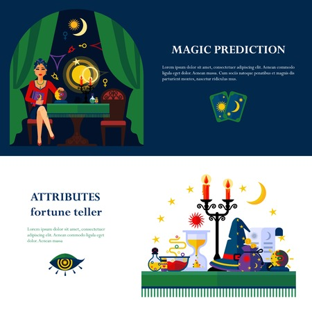attributes: Fortune teller and cards reader young woman magical attributes 2 flat banners composition poster abstract vector illustration