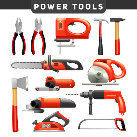 Electric and mechanical power carpenter worker tools flat pictograms set in red and black abstract isolated vector illustration