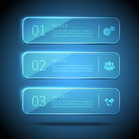 glass panel: Web elements 3 horizontal glass plates for infographic on blue background vector illustration