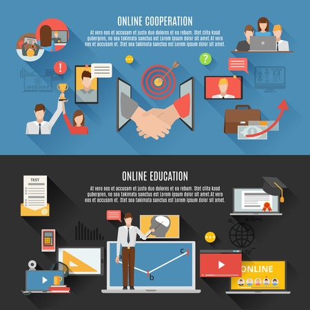 workshop: Webinar horizontal banners set of online education and online cooperation decorative elements flat vector illustration