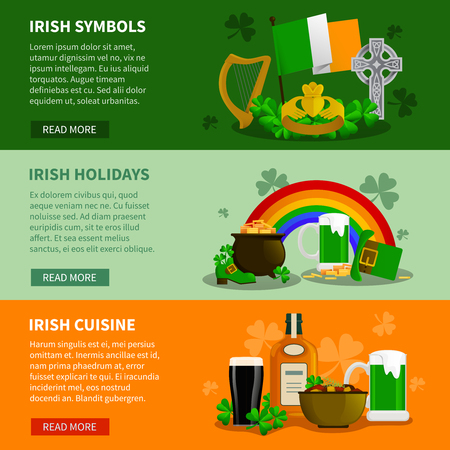 simbols: Ireland flat horizontal banners with simbols of saint patrick festival and elements of irish cuisine vector illustration