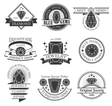 Gemstones black white emblems set with classic store symbols flat isolated vector illustration