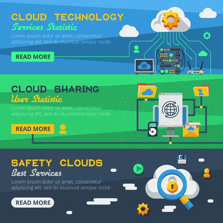 syncing: Flat horizontal banners set of cloud services with communication  devices and sharing design elements vector illustration Illustration