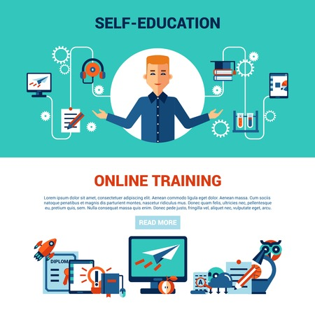 higher quality: online education horizontal banner set with young man computer self education and online training icons vector illustration