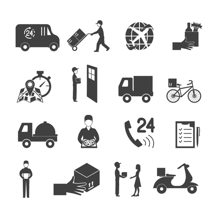 pizza place: Delivery icon set with transport order service in white and black vector illustration