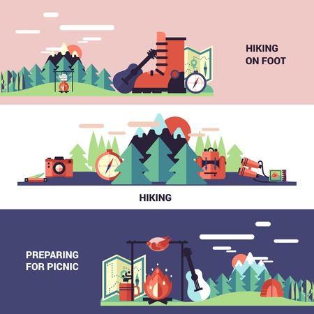 tourists: Hiking and picnic horizontal banners with tourist equipment and preparing for picnic design compositions flat vector illustration