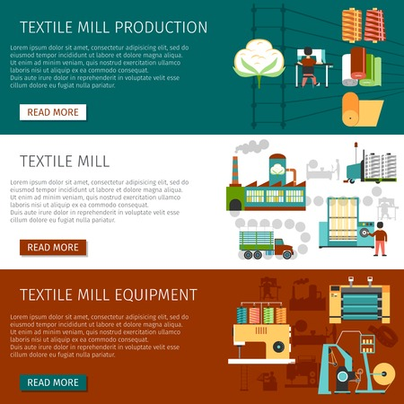 textile industry: Textile mill equipment production and employment information 3 flat interactive website page banners set isolated vector illustration Illustration