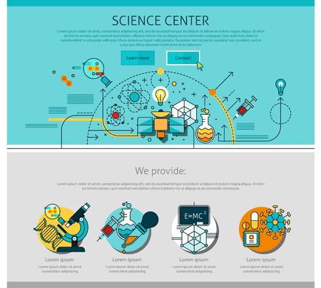 qu�mica: Centro de Ciencias de la p�gina con la l�nea de qu�mica y f�sica s�mbolos ilustraci�n del vector aislado plana