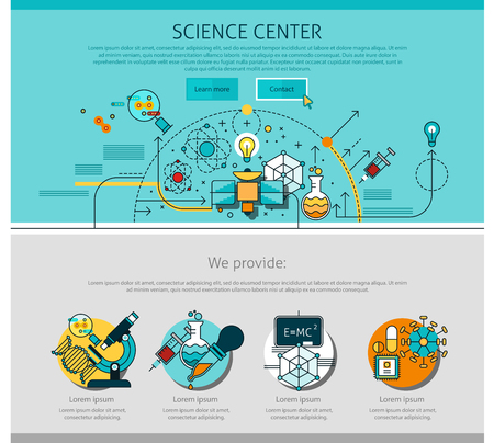 Science center line page with chemistry and physics symbols flat isolated vector illustration