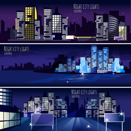 abstract city: Night city lights nightscape 3 interactive horizontal banners set for  computer wallpaper or webpage abstract isolated vector illustration Illustration
