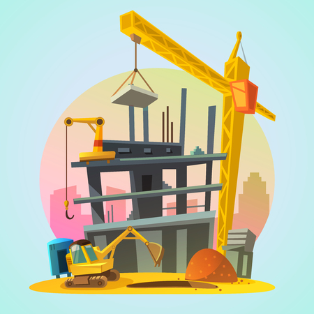 House construction process with cartoon building machinery retro style vector illustration