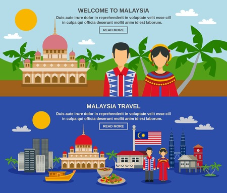 towers: Malaysia culture for travelers with famous twin towers night landscape 2 flat horizontal banners composition vector isolated illustration