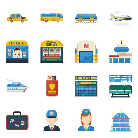passenger transportation: Passenger transportation flat icons set of jet plane bus taxi subway isolated vector illustration