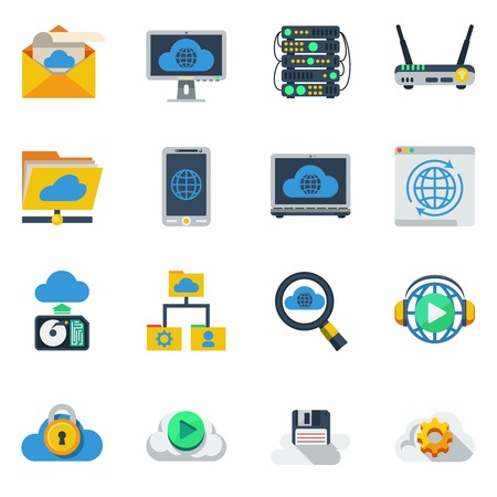 syncing: Cloud service flat color icons set of router smartphone laptop hub diskette sim card isolated vector illustration