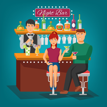 men bars: Night bar flat shadow design concept with barman behind bar girl and young man with wineglasses vector illustration Illustration