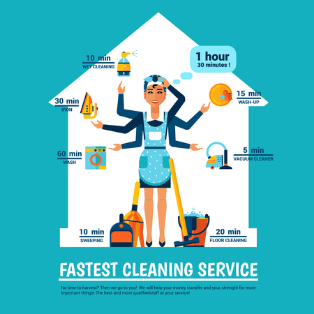 Fastest cleaning service design concept with woman in apron and cleaning tools at house silhouette background vector illustration