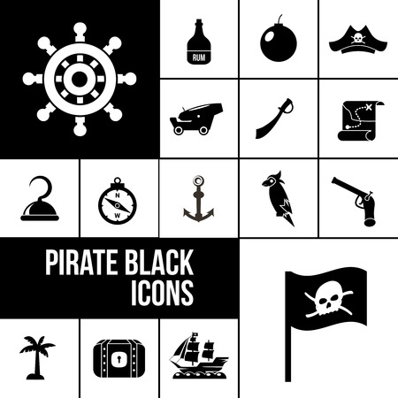 saber: Pirate icons black set with rum bottle bomb saber isolated vector illustration