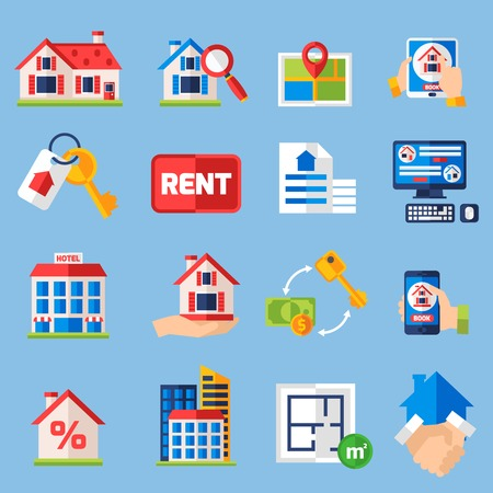 tenancy: House rent and  and property tenancy icons set with real estate symbols isolated vector illustration