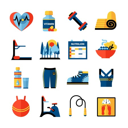 Fitness flat color icons set with sport clothes gym trainers healthy food products isolated vector illustration Illustration