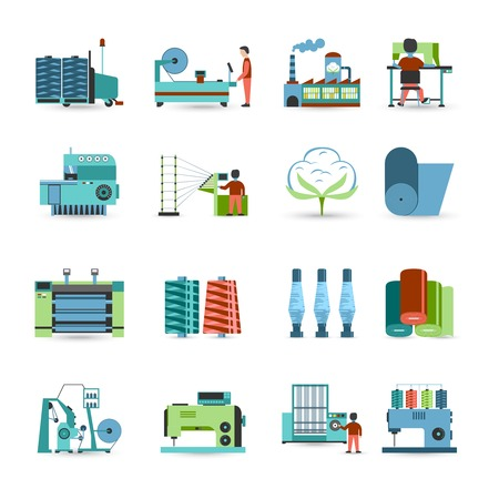 textile fabrics: Textile manufacturing process flat icons collection with weaving yarn  machinery equipment and clothes fabrication abstract isolated vector illustration Illustration