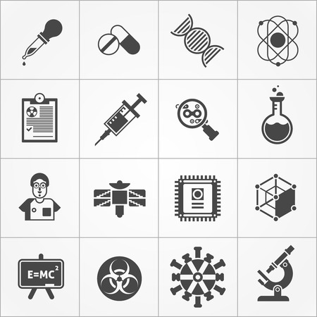 Science black white icons set with microscope and formula symbols flat isolated vector illustration