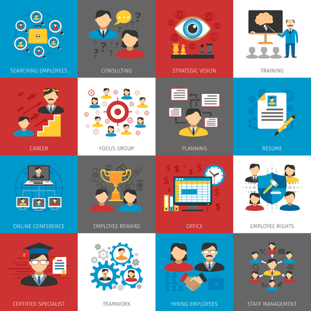 business concepts: Human resources staff management focus group and consulting concept flat pictograms collection abstract isolated vector illustration