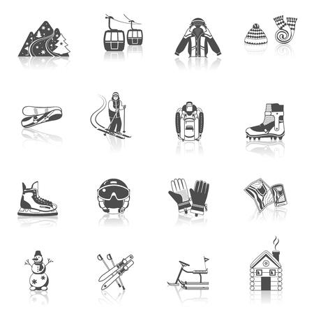 Ski resort icons black set with winter sport equipment symbols isolated vector illustration