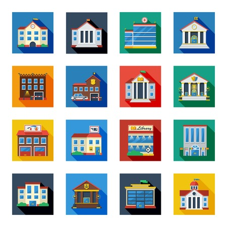 government: Government buildings flat icons set in colorful isolated squares with bank tax school church flat vector illustration