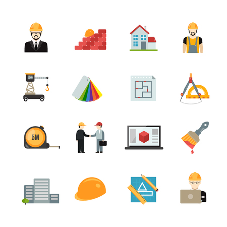 Architect icons flat set with house building equipment isolated vector illustration