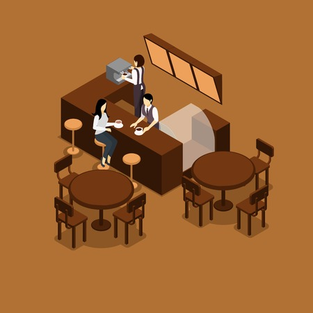 restaurant tables: Waitress barista making coffee for people in a cafe isometric vector illustration