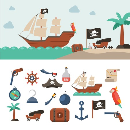 roger: Pirate icons flat set with treasure chest sea map jolly roger flag isolated vector illustration