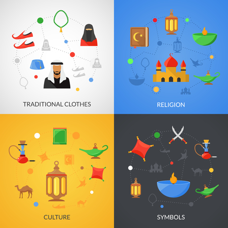 traditional culture: Arabic culture design concept set with traditional clothes and religion symbols flat icons isolated vector illustration