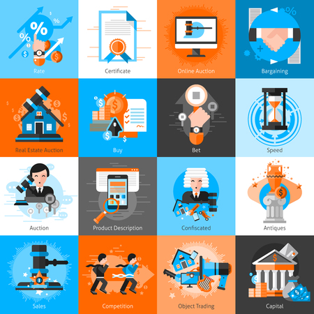 Collection of icons for auction bargaining with hammer antiques real estate and  objects for trading flat isolated vector illustration