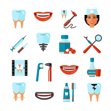teeth white: Dental care flat decorative icons set with stomatologist tools teeth care products and white smile symbols isolated vector illustration Illustration