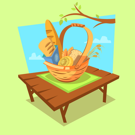 bread basket: Bakery cartoon concept with retro style basket full of bread on outdoor background