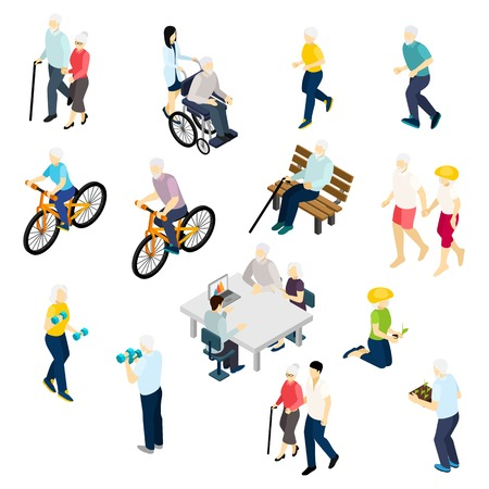 Pensioners life isometric set with health and activity symbols isolated vector illustration