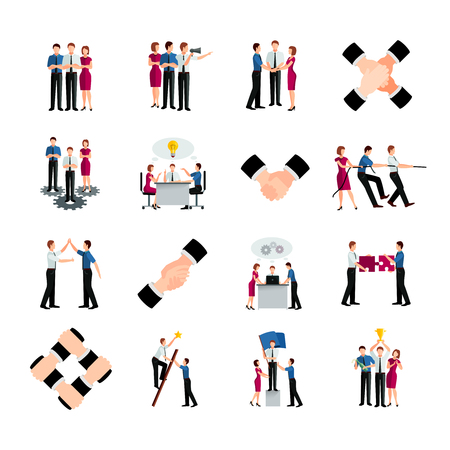 commands: Decorative colored flat teamwork icons set with people commands and handshake signs as symbol of cooperation and partnership