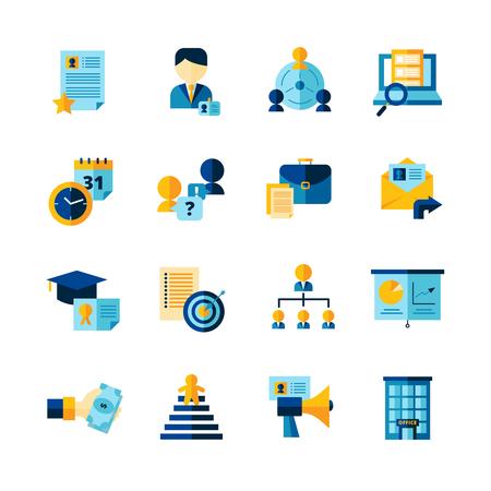 Hervatten flat decoratief iconen set van het vinden van professionele medewerkers interview en carrière geïsoleerd ontwikkeling vector illustratie