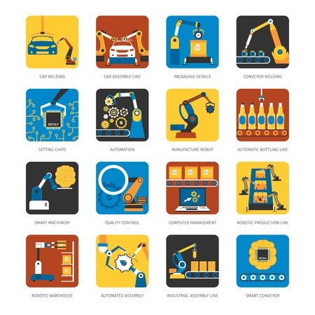 Industrial automated assembly line flat icons set with computer controlled manufacturing machinery robots abstract isolated vector illustration