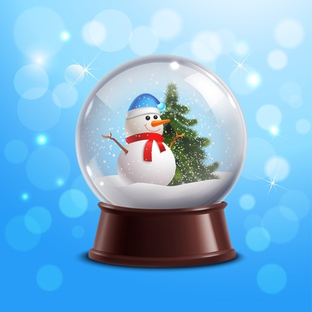 transparent globe: Snow globe on blue background with snowman and christmas tree inside vector illustration Illustration