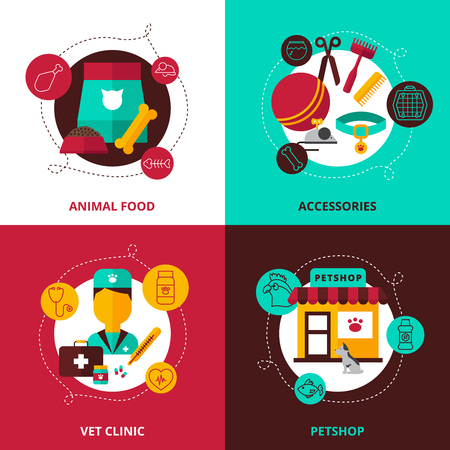 shop for animals: Veterinary 2x2 design concept set of  feed and accessories for animals vet clinic and pet shop compositions flat vector illustration