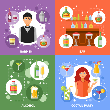 shaken: Bar concept 4 flat icons square composition banner with barmen serving alcohol cocktails abstract isolated vector illustration