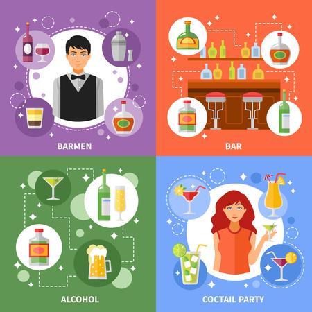 socializando: concepto de bar 4 iconos planos composición de la plaza pancarta con camareros que sirven cócteles de alcohol resumen ilustración vectorial aislado
