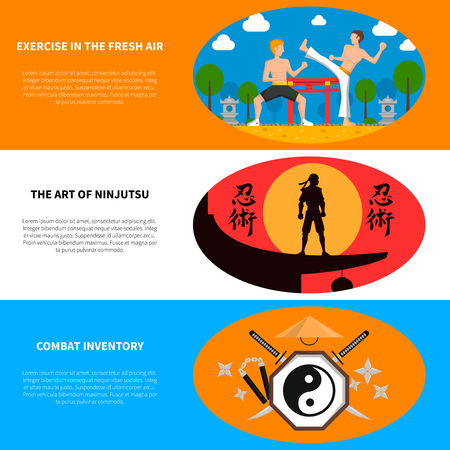 Martial arts horizontal banners set with combat inventory and exercise in the fresh air symbols flat isolated vector illustration Illustration