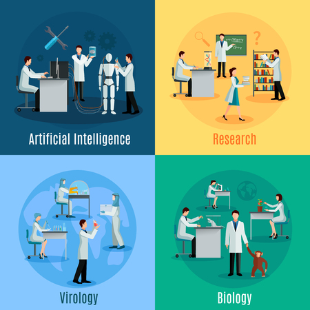 intelligence: Scientists 2x2 design concept set with researchers in field of biology virology and artificial intelligence flat vector illustration
